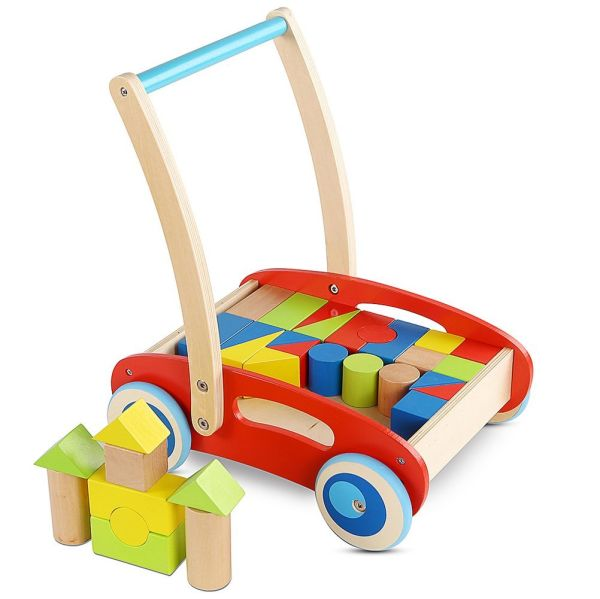 Wooden Baby Learning Walker Toddler Toys For 1 Year Old Blocks And Roll Cart Push And Pull Toy 33pcs 1 Set Box
