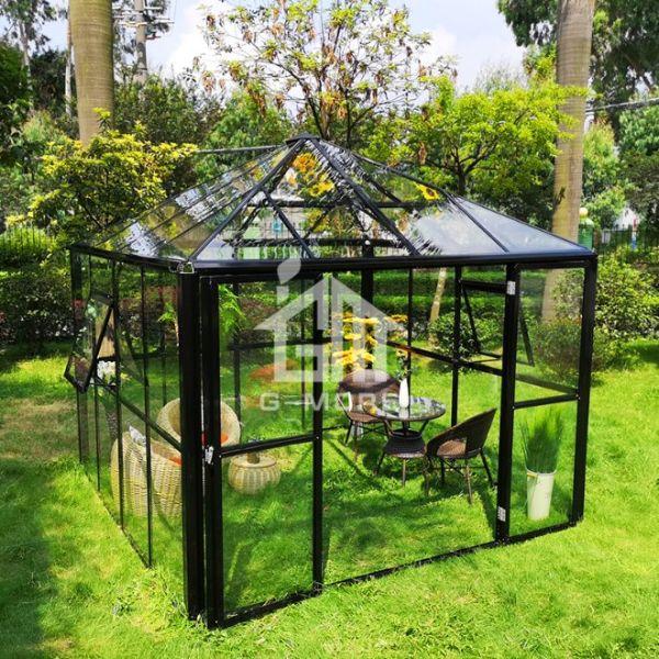 G-MORE Outdoor Aluminium frame Glass/polycarbonate optional panels Gazebo  garden Greenhouse 2 Boxes / Carton