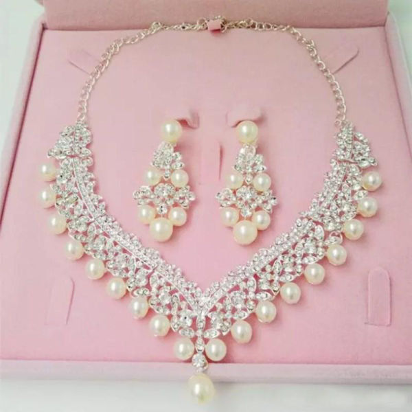 e8b67423c Luxury Rhinestones Bridal Jewelry Sets Pearls Silver Crystals Wedding  Necklaces And Earrings For Bride Prom Evening