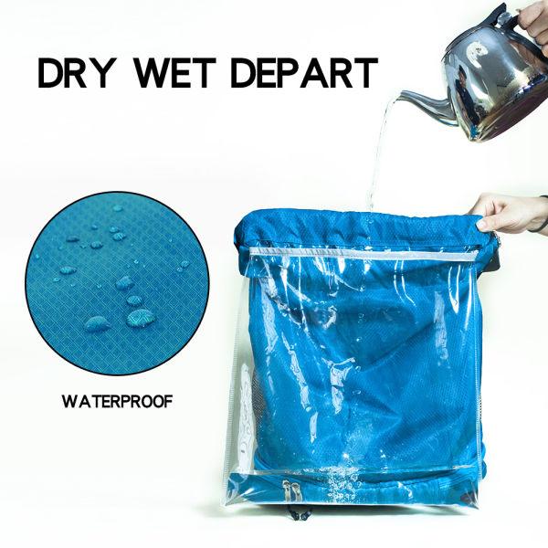 Waterproof Gym Bag Runpilot Drawstring Swim Pool Backpack Adjule Dry Wet Compartment Sports Equipment Bags For Men Women 1 Piece