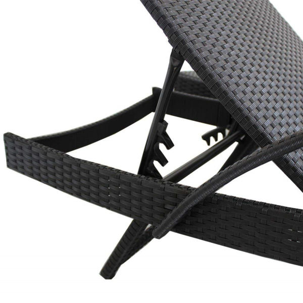 Miraculous Patio Lounge Chair Outdoor Rattan Sunbed With Armrest Adjustable 5 Position Black Pe Wicker Sunbed Furniture With Beige Cushion Set Of 2 1 Set Ocoug Best Dining Table And Chair Ideas Images Ocougorg