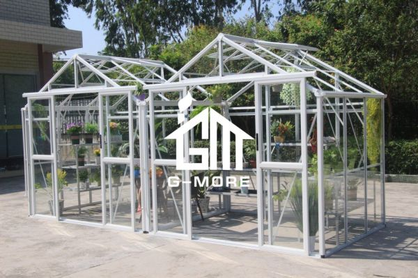 G-MORE Multi-Span Alminum Frame Glass/Polycarbonate Panels Hobby Garden  Greenhouse 6 Boxes / Package
