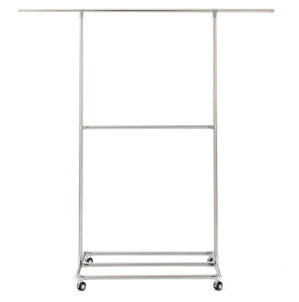 Double Rods Garment Rack Rolling Hanging For Closet With Wheels