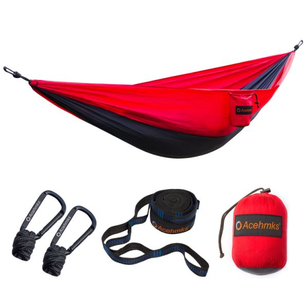 China Factory Portable Lightweight Parachute 210 T Nylon Single Type Outdoor Camping Hammocks Swing Hammocks With Straps and Carabiners
