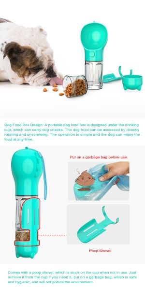 Dog Water Bottle for Walking and Food Container 3 in 1Pet Dog Travel Bottle multi-function Feeding, Watering, Poop Bag, Outdoor Dog Bottle Pet Supplies New design Amazon Hot Sell, Blue