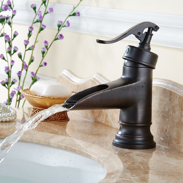 Flg Oil Rubbed Bronze Solid Br Waterfall Bathroom Sink Faucet 1 Piece Package