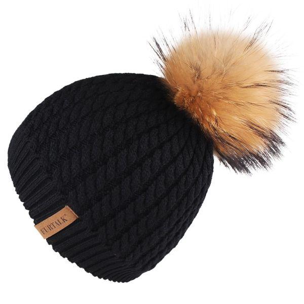 Furtalk Winter Beanie Hats for Women FURTALK Womens Warm Knit Real Fur  Bobble Pom Pom Hat e6865bbbee4