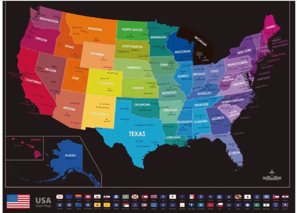 Shop For Scratch Off Map Of The World With States And Flags Black