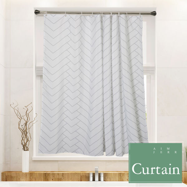 Hotel Quality White Striped Mold Resistant Fabric Shower Curtain For Bathroom Water Repellent 72