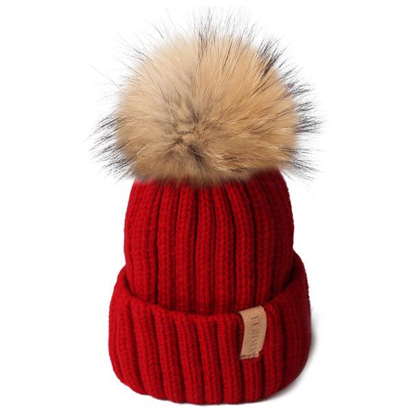 FURTALK Kids Winter Real Fur Pom Beanie Hat-Child Knit Hats for Girls Boys  HTWL028 f77344b0335