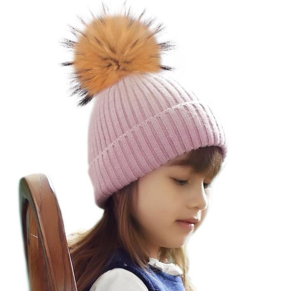 e0a74c7ace9 FURTALK Parent-Child Winter Rabbit Fur POM POM Hats for Kids Women Warm Knit  Skullies