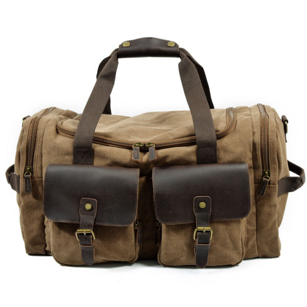 REDSWAN Travel Duffel Bag Waterproof Canvas Overnight Bag Leather Weekend  Carryon Bag afccffe39d