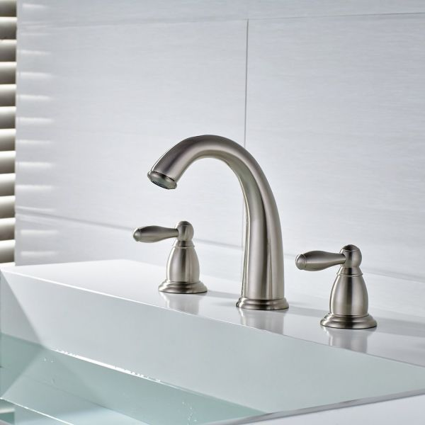Fantastic Flg Solid Brass Two Handle Low Arc Widespread Bathroom Faucet Brushed Nickel 1 Piece Package Home Interior And Landscaping Transignezvosmurscom