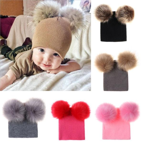 Wholesale 7 Colors Kids Pom Pom Winter Knit Beanie Photography Faux Fur Hat  Knit Cap Winter Outdoor Warm Hats with Double Fur Balls on Top 1 Piece   Bag de72ae8b851