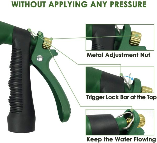 H2O WORKS Garden Hose Nozzle, Metal Nozzle Hose with Adjustable Watering Patterns, Watering Hose Nozzle, Water Spray Gun Nozzle, Hose Sprayer Attachment, Perfect Car Washing and Pets Showering