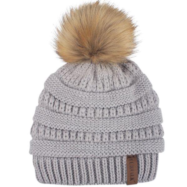 FURTALK Kids Girls Boys Winter Knit Beanie Hats Faux Fur Pom Pom Hat Bobble  Ski Cap 43344c8f05f