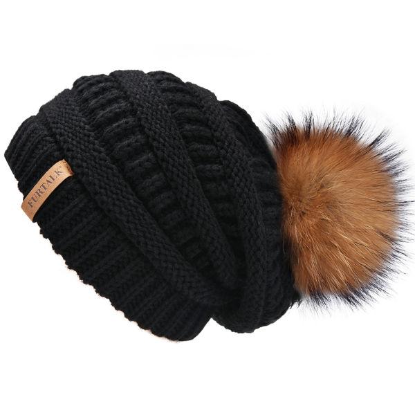 FURTALK Womens Slouchy Winter Knit Beanie Hats Chunky Hat Real Fur Bobble  Hat Ski Cap A003 d2acadf074d