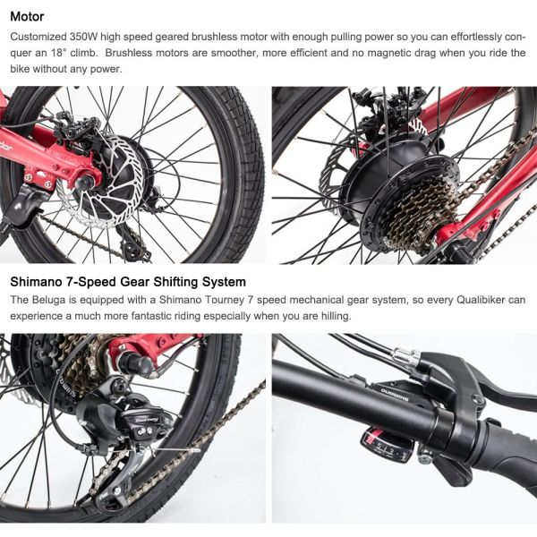 Qualisports Volador Folding Electric Bicycle 20in Folding E-Bike Unique Design with Hidden 7Ah Lithium-ion Battery 36V/350W Hub Motor Shimano 7 Speed Shifter Hybrid Mountain Bike(Satin Dark Red)