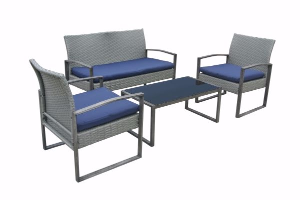 Stellahome Wicker Patio Furniture Outdoor Conversation Sets 4 Piece  Cushioned Chairs Table Bistro Set For Porch