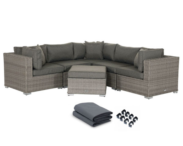 Fine Outdoor Patio Furniture Rattan Wicker Sofa Corner Sectional Sets 6Pcs Grey Cushioned No Assembly With Free Patio Cover 1 Set Carton Inzonedesignstudio Interior Chair Design Inzonedesignstudiocom