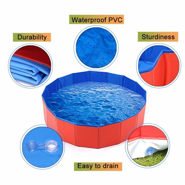 Collapsible Pet Dog Bath Pool, Kiddie Pool Hard Plastic Foldable Bathing  Tub PVC Outdoor Pools for Dogs Cat Kid 54 Pieces / Carton