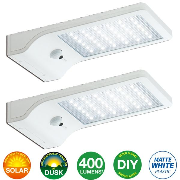 Bonashi Led Solar Motion Sensor Light Lights Outdoor 2 Pack Security Activated Wall With Mounting Poles For Gutter Patio Garden