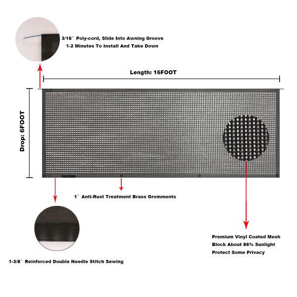Shop for Tentproinc RV Awning Sun Shade 6' X 16' - Black ...