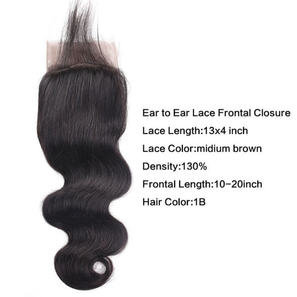 13X4 Lace Frontal Closure with Bundles of Brazilian Virgin Hair Body Wave 3 Bundles with Frontal Closure Ear to Ear 100% Unprocessed Virgin Human Hair Nature Color (10 12 14+10)