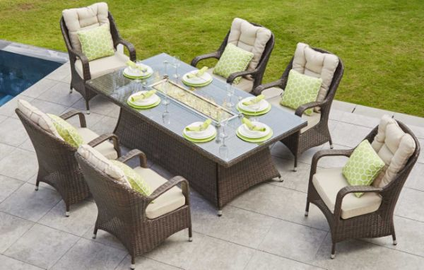 Turnbury Outdoor 7 Piece Patio Wicker Gas Fire Pit Set Rectangular Table With Arm Chairs by Direct Wicker