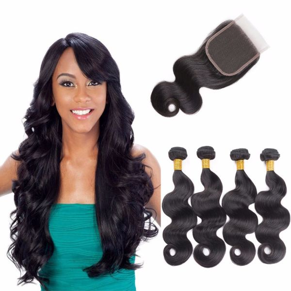 Brazilian 4 Bundles with Closure Body Wave 100% Unprocessed Virgin Human Hair 4 Bundles of Brazilian Hair with Free Part Lace Closure Nature Color (12 14 16 18+12)