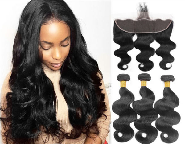13X4 Lace Frontal Closure with Bundles of Brazilian Body Wave 3 Bundles with Frontal Closure Ear to Ear 100% Unprocessed Virgin Human Hair Nature Color (14 16 18+14)