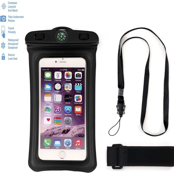 BKhome Floating Waterproof Case, Universal Ipx8 Waterproof Cell Phone Pouch  Dry Bag With Compass, Dustproof, Snowproof Pouch Bag for iPhone