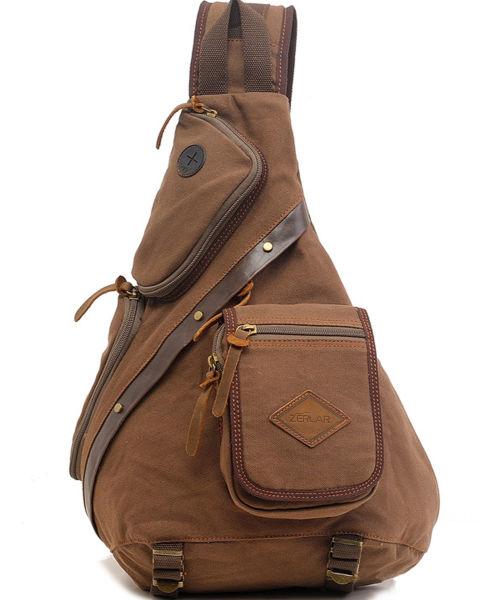 234bf58701f Zerlar Men s Chest Pack Crossbody Bag Vintage Canvas Shoulder Sling Bag  Rucksack