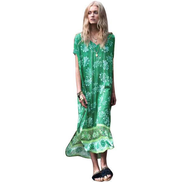 015524d3021b5 Free Shipping Printed Flower V Collar Cotton Beach Dress L38511 1 Piece /  Bag