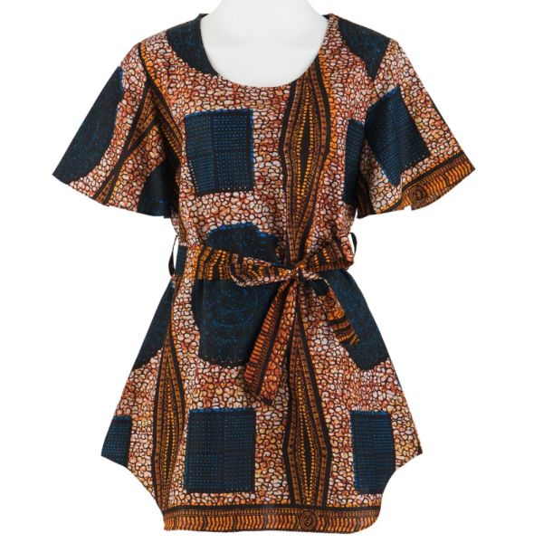 679f1e1af Women Casual Kimono Blouses African Wax Fabric Blusa Shirt With Belt  BL116africanB-M