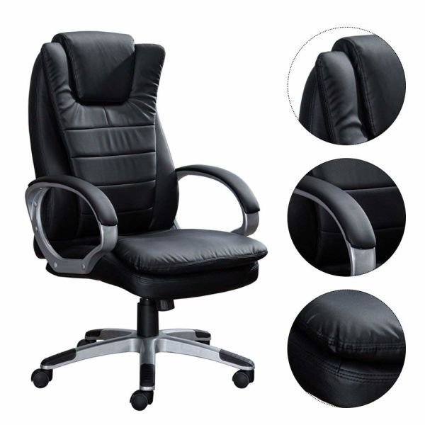 Sensational Office Swivel Chair High Back Home Computer Task Chair Adjustable Pu Leather Executive Desk Chair With Headrest Black 1 Piece Box Ncnpc Chair Design For Home Ncnpcorg