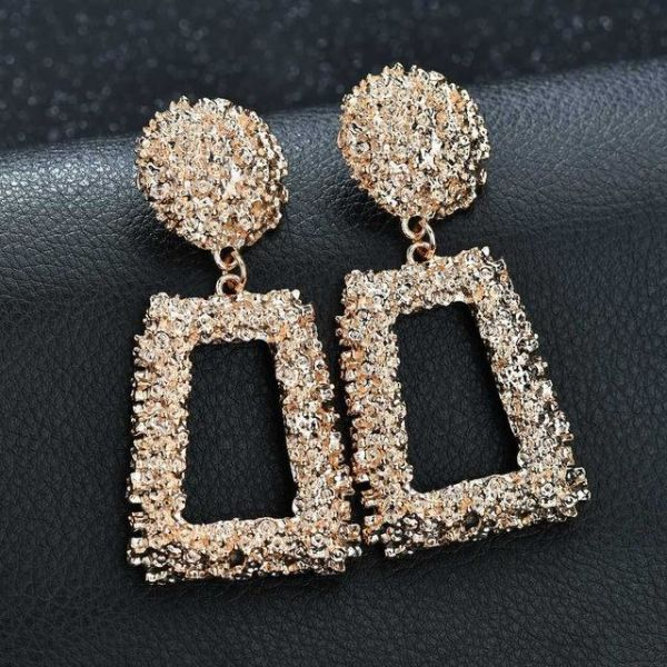 731cd1f90a Big Vintage Earrings for Women Gold Silver Black Geometric Statement  Earring 2018 Metal Earring Hanging Fashion Jewelry, Gold 1 Pair / Box