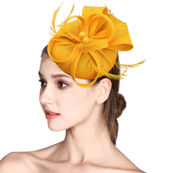 5f3ec242c7b0e Fascinator Feather Fascinators for Women Pillbox Hat for Wedding Party  Derby Royal Banquet - Yellow