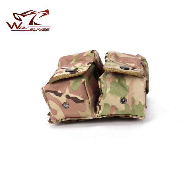 MOLLE Tactical Double Magazine Pouch with Buttons Military Airsoft Ammo Clip Bag for AK M4 GLOCK Shotgun Hunting Pouch