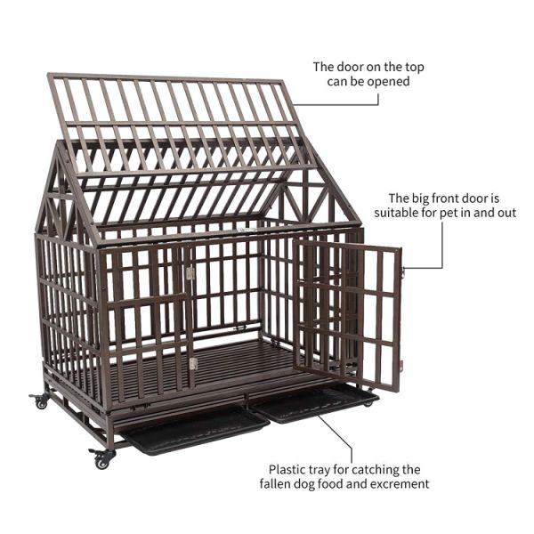 Heavy Duty Dog Crate Strong Metal Pet Kennel Playpen Two Prevent Escape Lock Large Dogs