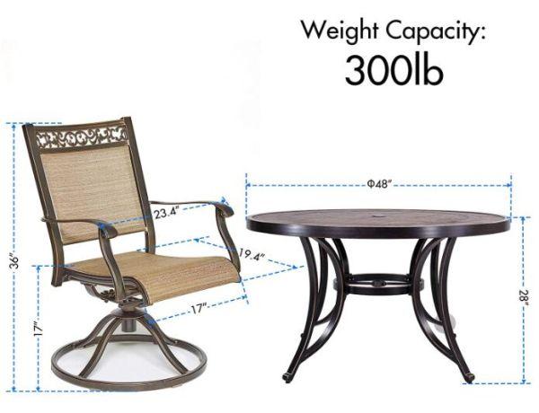 Aluminum Swivel Rocker Chair Sling, Swivel Glider Outdoor Chair Set