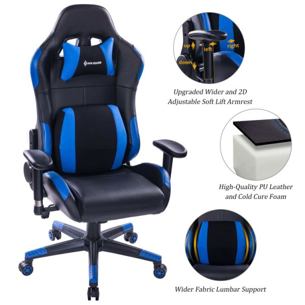 Von Racer Multifunctional Gaming Chair Elegant Reclining Computer Desk Chair With Soft Memory Foam Seat Cushion Ergonomic Office Chair With