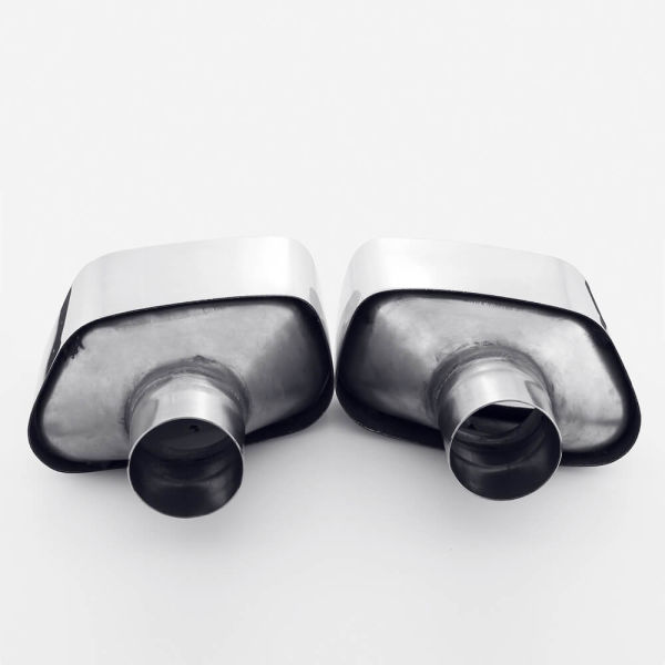 "One Pair 2 1/2 Inch 2.5"" Inlet Angle Cut 304 Stainless Steel Exhaust Tips"