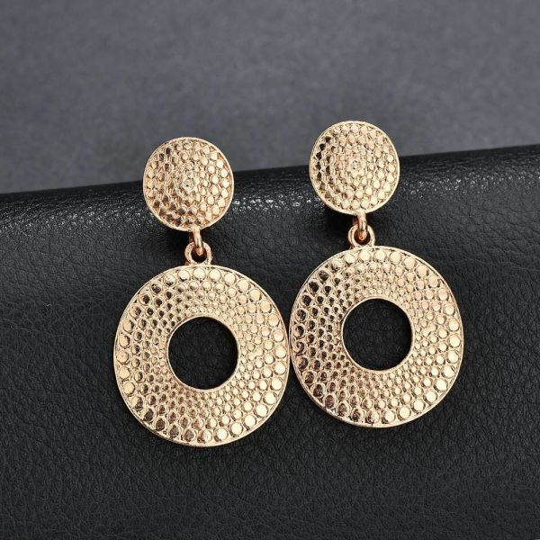 39865f494cf52 Vintage Gold Color Dangle Earrings for Women Fashion Big Round Hanging  Jewelry Ladies Wedding Party Drop Earrings Accessories 1 Pair / Box