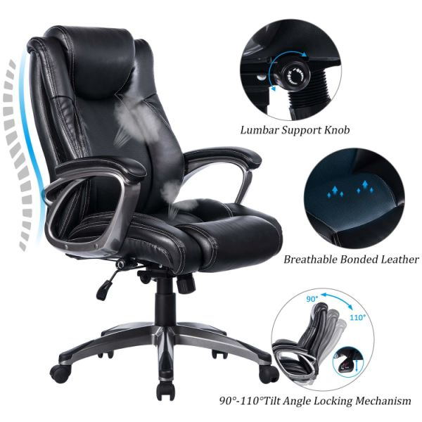 Vanbow Leather Memory Foam Office Chair Adjule Lumbar Support And Tilt Angle High Back