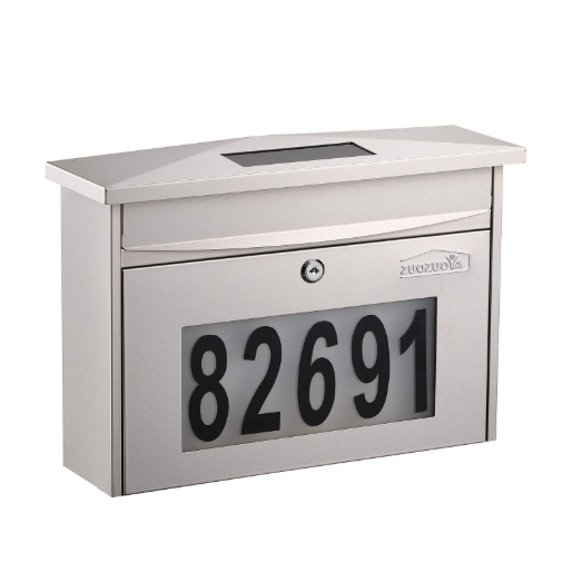 Wall Mounted Locking Mailbox with House Numbers,Solar Lighted Stainless Steel Mail Box Outdoor with Key