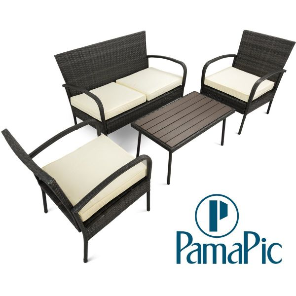 4 PCS Rattan Patio Furniture Sets, PamaPic Indoor-Outdoor Wicker Sectional Seat Cushioned Loveseat Sofa, PS Board Table, Decoration For Garden Lawn, Backyard, Pool (Black)