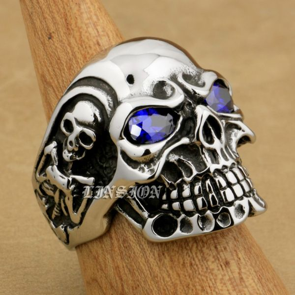 316L Stainless Steel Purple CZ Eyes Titan Skull Ring Men Biker Ring 3A401 US Size 14