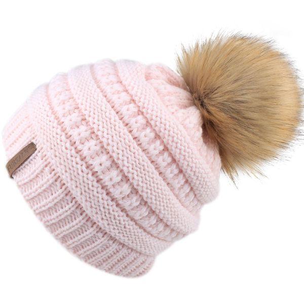 5c50967f43e FURTALK Kids Girls Boys Winter Knit Beanie Hats Faux Fur Pom Pom Hat Bobble  Ski Cap