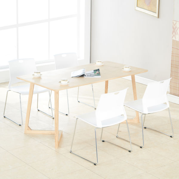 Sidanli 4PCS White Plastic Stackable Chairs for Home ,Office
